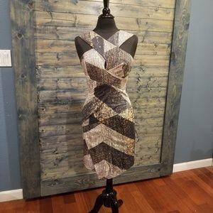 Bardot Cutout Snake Print Dress NWT